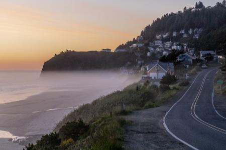 Oceanside village at sunset